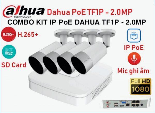 Bộ Kit 4 Camera IP DAHUA PoE TF1P 2.0 Mp